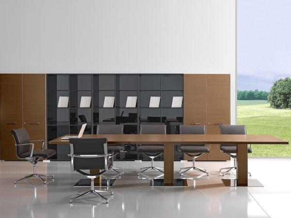 Bralco Arche Konferenztisch 360x120 in Echtholz Furnier mit Bodenplatte hochglanz