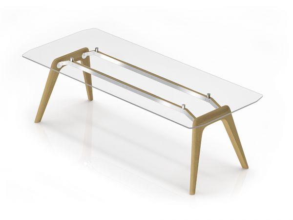 Bralco RAIL Executive Schreibtisch mit Glasplatte und Eichegestell